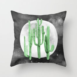Cactus Nights Full Moon Starry Green by Nature Magick Throw Pillow