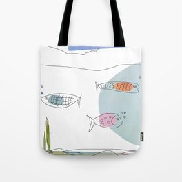 3 Fishies Swimming Under the Ocean Tote Bag