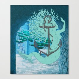 The Mermaid, The Anchor, And The School Of Fish ExploreTheRuins Canvas Print