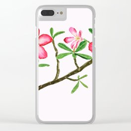 red flower adenium plant Clear iPhone Case