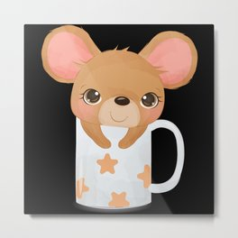 Cute mouse looks out of a cup with stars Metal Print