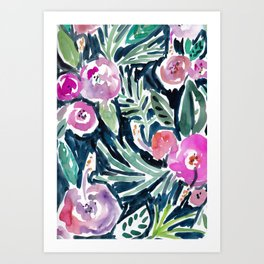 NIGHT TIME IN THE JUNGLE Tropical Hibiscus Palm Art Print