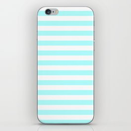 Narrow Horizontal Stripes - White and Celeste Cyan iPhone Skin