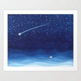 Falling star, shooting star, sailboat ocean waves blue sea Art Print