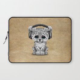 Cute Snow leopard Cub Dj Wearing Headphones Laptop Sleeve