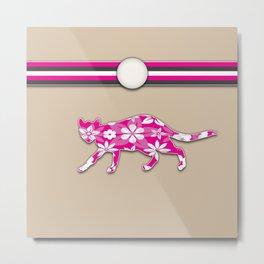 Floral Cat Pink Stripes Animals Design Pattern Metal Print