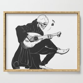 Minstrel playing guitar,grim reaper musician cartoon,gothic skull,medieval skeleton,death poet illus Serving Tray