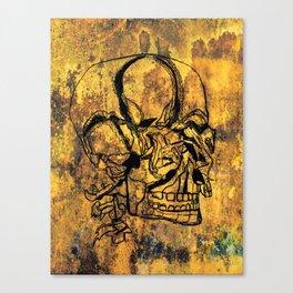 Crushed Skull Drawing Canvas Print