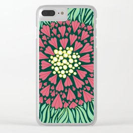Pink and green florals Clear iPhone Case