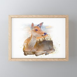 Sitting Deer Landscape Watercolor Framed Mini Art Print