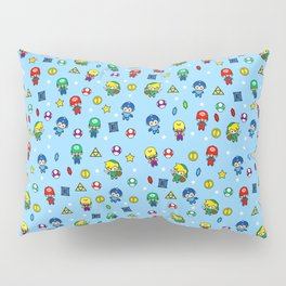 Cool Video Game 8-Bit Heroes Vintage Gamer Gaming Collection Pillow Sham