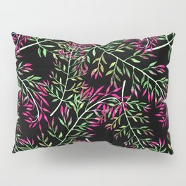 Delicate leaves .Green, pink-red leaves on a black background. Pillow Sham