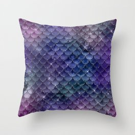 Mermaid Scales Ombre Glitter 3 Throw Pillow