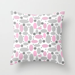 Grey pink retro, grey, grey and pink, pink, grey polka dots, vintage Throw Pillow