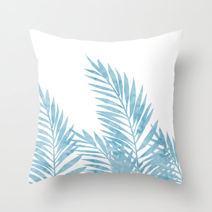 light blue throw fur palm leaves light blue throw pillow by lavieclaire society6