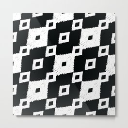 Tribal Ikat Black and White Pattern Metal Print