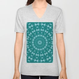 Tanager Turquoise and Teal Blue Abstract Pattern Mandala Unisex V-Neck