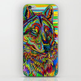 Colorful Psychedelic Rainbow Wolf iPhone Skin