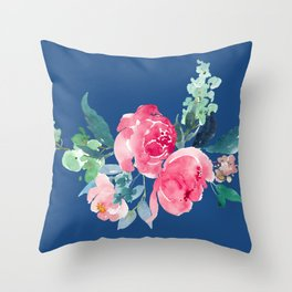 Blue and Pink Peony Watercolor Throw Pillow