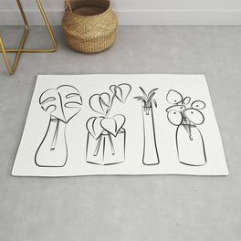 Plants in water bottles, black and white hand drawn illustration art Rug