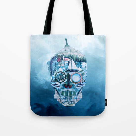 Skull Ocean Blue Tote Bag