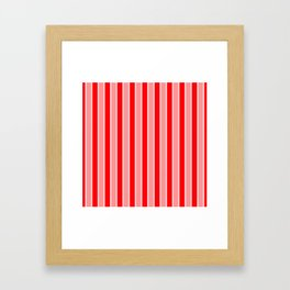 Large Vertical Christmas Holiday Red Velvet and White Bed Stripe Framed Art Print