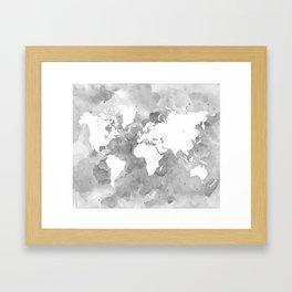 Design 49 Grayscale World Map Framed Art Print