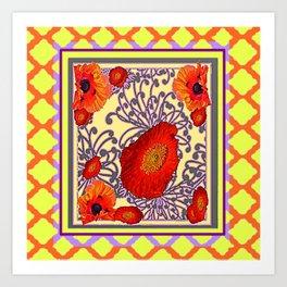 Lemon Caramel Trellis Pattern Poppy Flowers Art Art Print