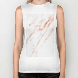 Pink Quartz Marble Rose Gold White Biker Tank