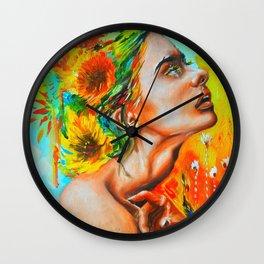 Rainbown flower Wall Clock