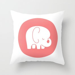 Mod Baby Elephant Coral Throw Pillow