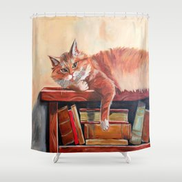 Red cat on a bookshelf Shower Curtain