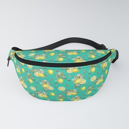 Lemons and Bees - Fresh blue seamless pattern Fanny Pack