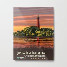 Vintage Poster - Jupiter Inlet Lighthouse Outstanding Natural Area, Florida (2015) Metal Print