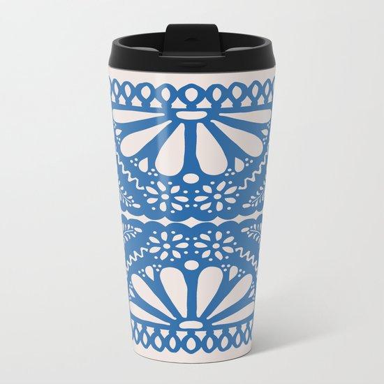 Fiesta de Flores Blue Metal Travel Mug