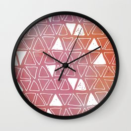 Tribal Watercolours - in Sunset Pink/Orange Wall Clock