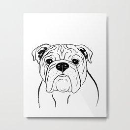 English Bulldog (Black and White) Metal Print