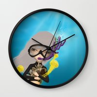 scuba Wall Clocks featuring scuba by Anne  Martwijit