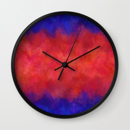 Red Pink Blue Color Explosion Abstract Wall Clock