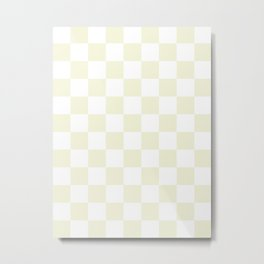 Checkered - White and Beige Metal Print