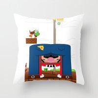 mario Throw Pillows featuring Mario by Ryan Miller