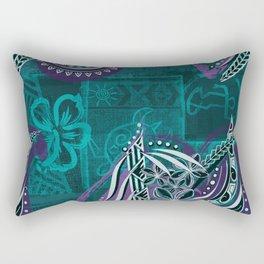 Polynesian - Hawaiian - Samoam Emerald Tribal Threads Rectangular Pillow