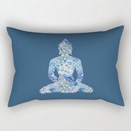 Buddha Vintage Floral Pattern Blue Navy Teal Turquoise Rectangular Pillow