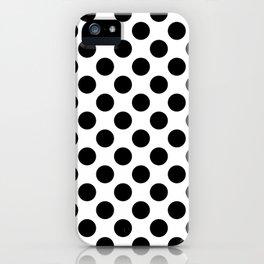 Minimalistic medium polka dots pattern, black and white iPhone Case