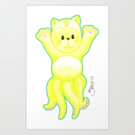 Lucky Cat Cuddlefish Art Print