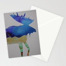 Moose - blue ink Stationery Cards