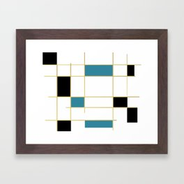 MidCentury Modern Art Aqua Gold Black Framed Art Print