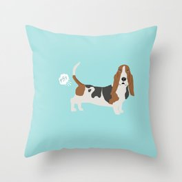 Basset Hound dog breed funny dog fart Throw Pillow
