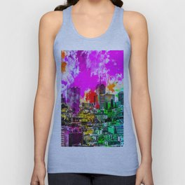 building in the city at San Francisco, USA with colorful painting abstract background Unisex Tank Top