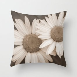 DUO A Pair of Flowers in Sepia Tones Throw Pillow